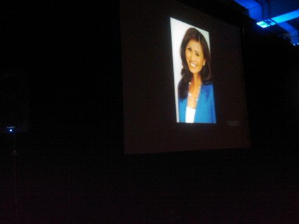 Kalika on the screen at NAWBO-LA event