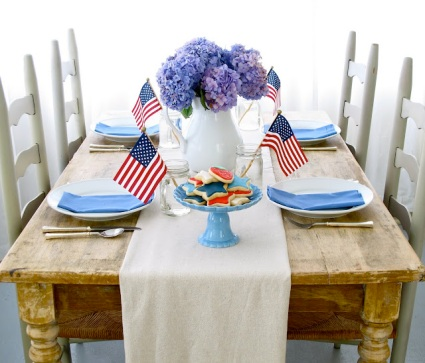 Simple Fourth of July table setting