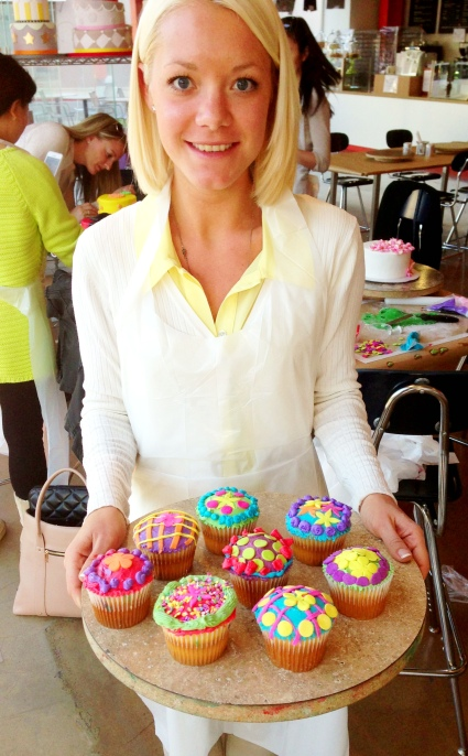 Maria and her colorful cupcakes