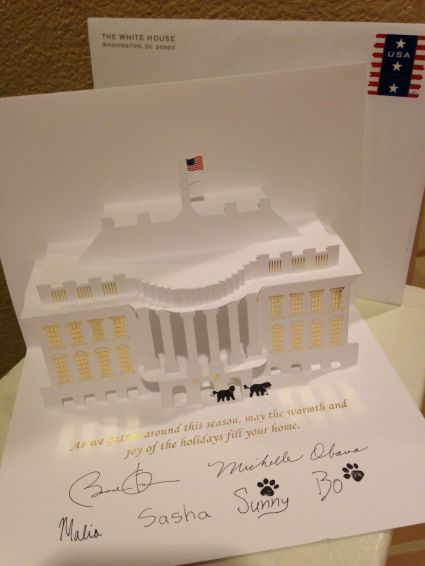 3D holiday card we received from the President of the United States!